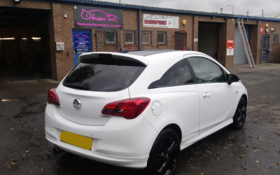 Vauxhall Corsa 1.4 Turbo with limo tint over factory privacy glass